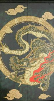 【和風のれん】金ラメ入りの飛龍:金色のラメ糸を織り込んだ、浮世絵のれん【幅85cm×長さ150cm】[和風暖簾/和柄暖簾/外国人土産/ロングのれん]【あす楽対応_関東】