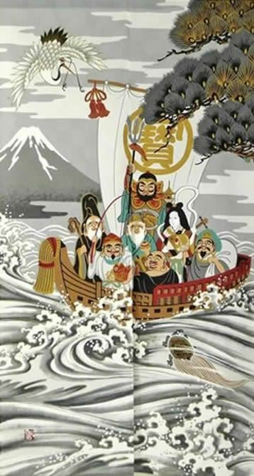 【和風のれん】★日本伝統の柄★浮世絵のれん【幅85cm×長さ150cm】宝船の柄[和風暖簾/和柄暖簾/外国人土産/ロングのれん]【あす楽対応_関東】